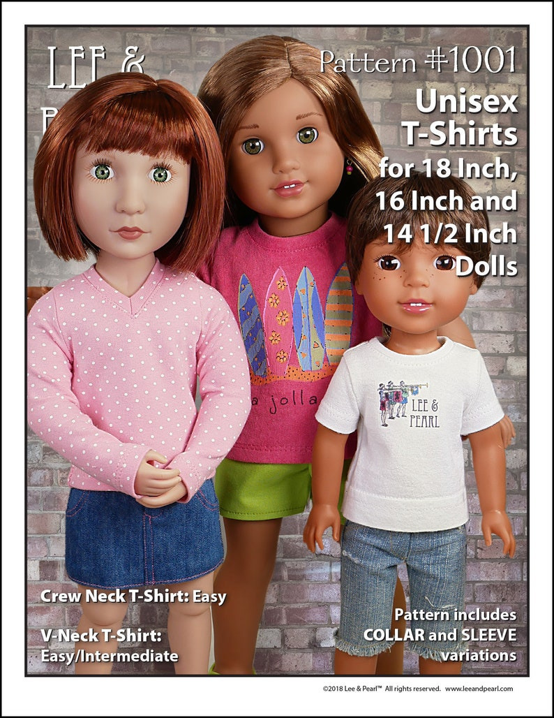 L&P 1001: Unisex T-shirts Pattern for 18 Inch American Girl image 0