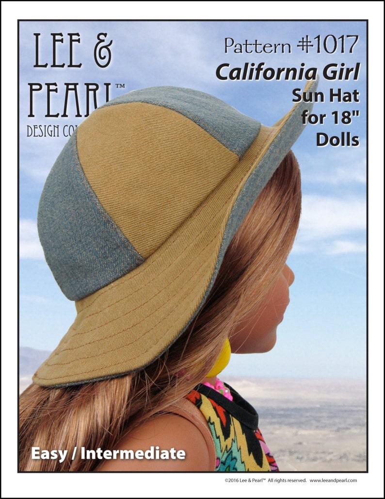 L&P 1017: California Girl Sun Hat Pattern for 18 inch dolls image 0