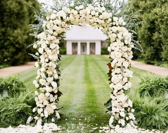 Indoor wedding arch etsy 75ft white metal frame wedding anniversary prom lighted decoration indoor outdoor arch flower balloon junglespirit Images