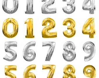 40 inch Gold Silver number balloons number 1-9 balloon Gold Silver Foil balloon 0,1,2,3,4,5,6,7,8,9 Birthday Anniversary Party Helium Float