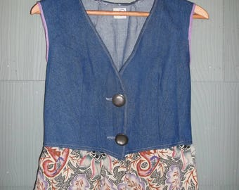 Women's Denim Vest with Patterned Peplum Size 2