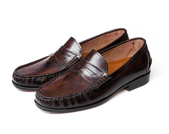 Men Penny Loafer, Handcraft finishing shoe colour in dark brown