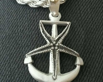 Starfish Anchor Sterling Silver Pendant