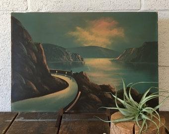 Chuckanut drive vintage Bellingham painting vintage landscape painting vintage oil painting vintage painting vintage Washington painting