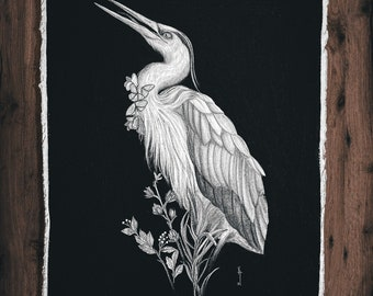 Blue Heron   Original drawing