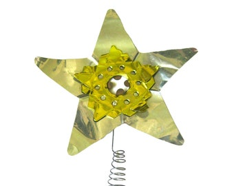 Vintage Aluminum Christmas Tree Topper Star, Coil Wire, Gold and Silver, Holiday Decoration, Xmas Tree Ornament, Christmas Star, Kitschmas