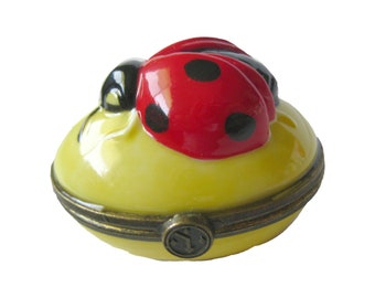 Lady Bug Hinged Box by Department 54, Lucky Bug Pill Box, Gift For Her, Ladybug Collector, Lady Bugs, Porcelain Box