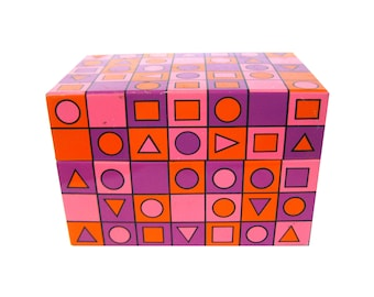 Mid Century Recipe Box by Syndicate Mfg Company, Geometric MOD Metal Recipe Box Housewarming Gift, Kitschy Kitchen MOD Recipe Box, Retro Box