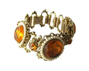 Molded Glass Bracelet With Orange Glass Cabachons - Vintage Bracelet - Flower Bracelet - Floral Bracelet