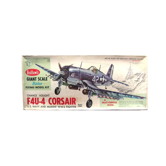 Guillows Scale Model Airplane F4U4 Corsair US Navy and Marine WW2 Fighter Giant Scale Balsa Flying Model Kit With Operating Features