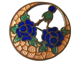 Art Deco Floral Cloisonne Pin - Vintage Jewelry - Estate Jewelry - Vintage Brooch - Enamel brooch - Enamel Pin - Gift For Her - Art Deco Pin