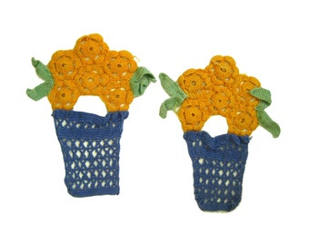 Handmade Yellow Flowers In Pots Doilies Set of 2, Crochet Flower Doily, Hand Crocheted, Home Decor Flower Accents, Potted Flowers Doily