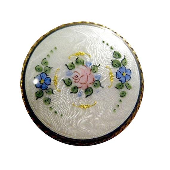 Guilloche Floral Pin - Enamel Vintage Brooch - Ros