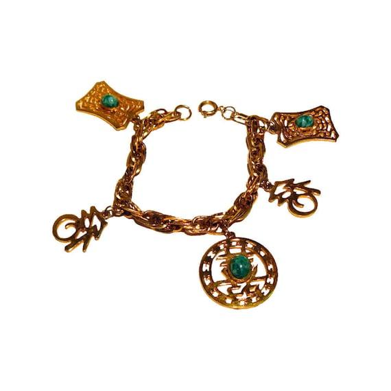 Hattie Carnegie Asian Charm Bracelet - Jadeite Cha
