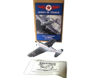 Limited Edition Texaco Airplane Bank Wings of Texaco 1932 Northrop Gamma, Die Cast Toys, New In Box, Coin Bank, Frank Hawks Advertising Toys