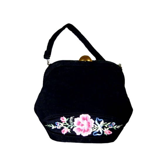 213e2bf1264c Embroidered Purse with Floral Design Little Black Purse