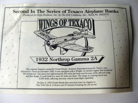 Ertl Wings Of Texaco 1932 Northrop Gamma Locking Coin Bank 2nd in Series *new*
