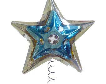 Aluminum Blue Silver Star Christmas Tree Topper, Holiday Decor, 1950s Christmas, Kitschmas, Kitschy Christmas, Vintage Christmas Decorating