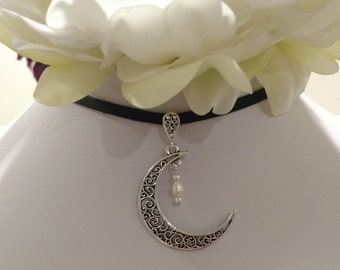 Freshwater Pearl & Sterling Crescent Moon Pendant