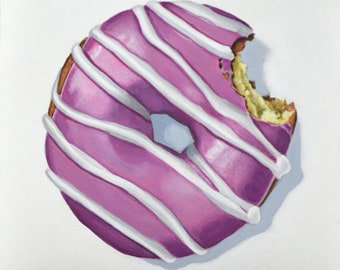 Original Daily Painting by Kim Testone - Frosted with Stripes - Donuts Donut Doughnuts Doughnut Dessert Kitchen Contemporary Art Realism