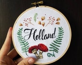 Embroidery Floral Wreath with Name or Phrase