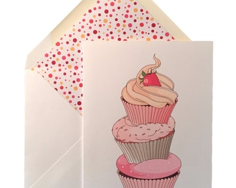 "Cupcakes Birthday Card, Greeting Card, Cupcakes, Linen Card Stock, Lined Envelope, Sweet, Fun, Cake, Handmade, 5"" X 7"""