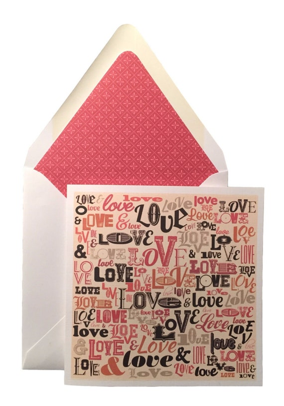 Love Valentines Day Card W Matching Lined Envelope Etsy
