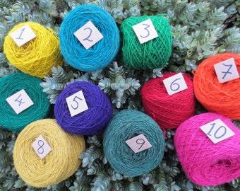 Hand Spun Peruvian Sheep Wool / Natural Plant Dyed Yarn