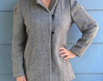 Vintage 80s Patina International Coat // Grey Tweed Wool Jacket //  Black and White Button Up Waist Length // Womens Size 8 // Medium Large
