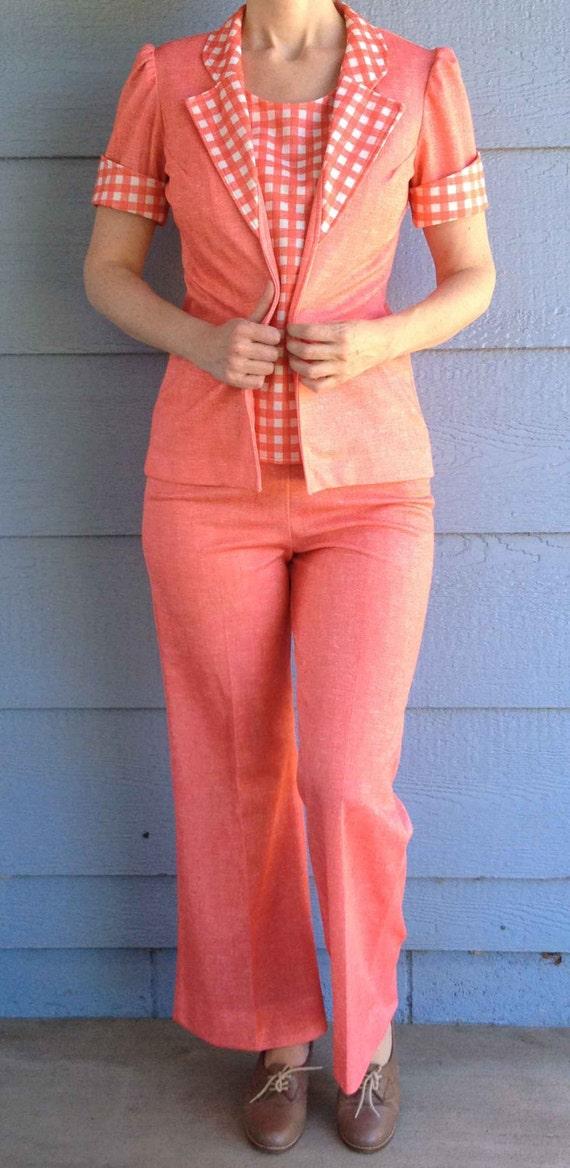 Vintage 70's Ladies Polyester Pantsuit // CM of Ca