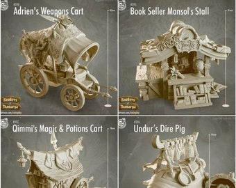 Thamarian Market Stalls & Carts - DND-Pathfinder-Miniature-RPG-CastNPlay- Hawkers of Thamarya Collection - Resin