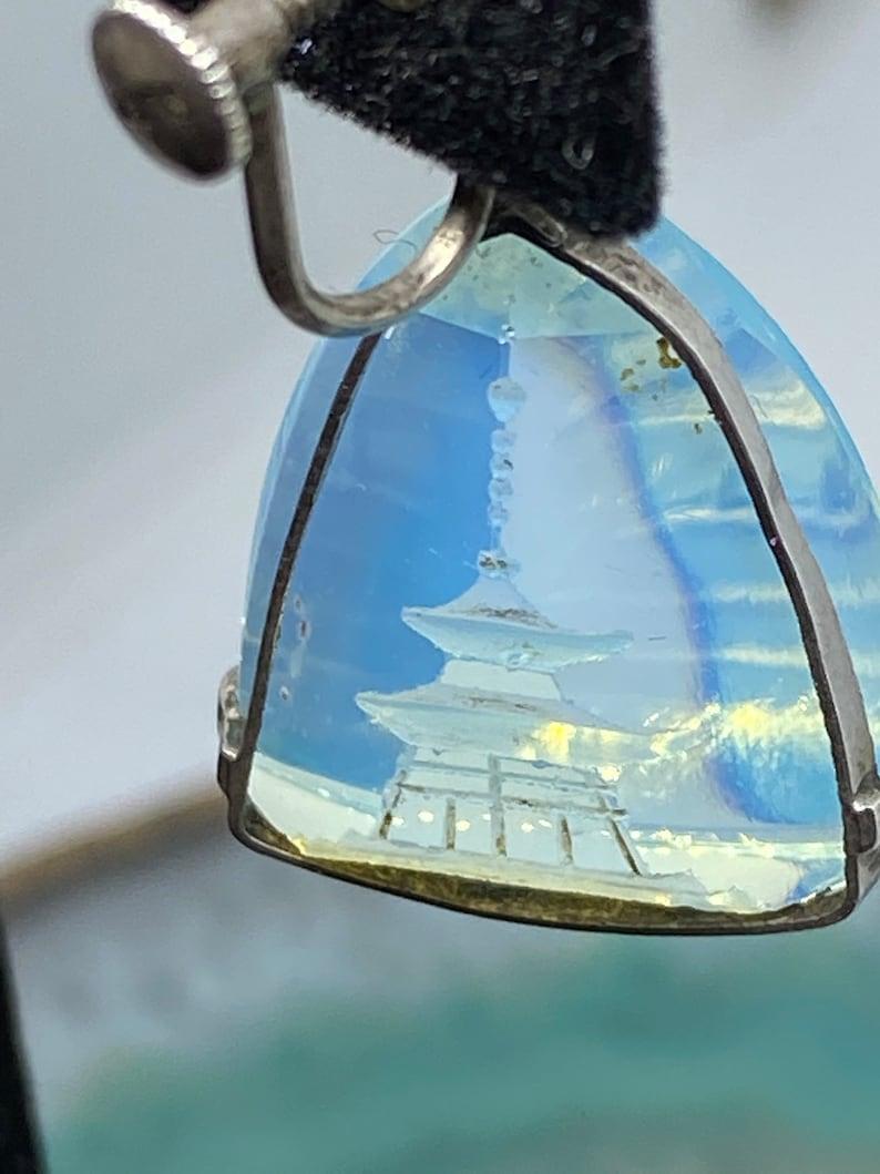Vintage Pagoda Intaglio Drop Dangle Asian Oriental Jewelry Sterling Earrings
