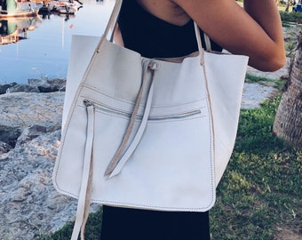 White leather handmade tote bag / leather shopper bag / white leather shopper / large tote bag / leather shoulder bag / white shoulder bag