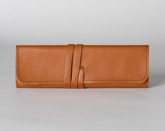 Roll pencil case/pencil holder/makeup brush holder/pencil case/pen case/leather pencil case/leather pencil roll/pen roll/pen holder