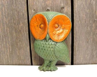 Vintage Owl Sculpture Wall Hanging