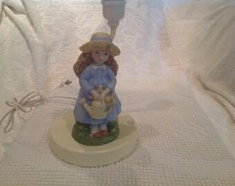 Vintage Porcelain Girl Lamp