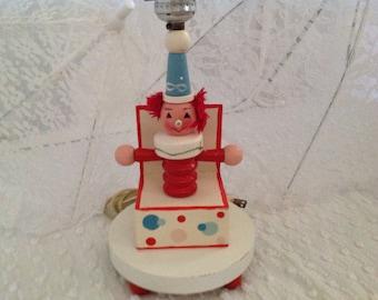 Vintage Irmi Wooden Clown Lamp