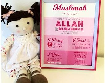Muslimah 5 Pillars of Islam Print