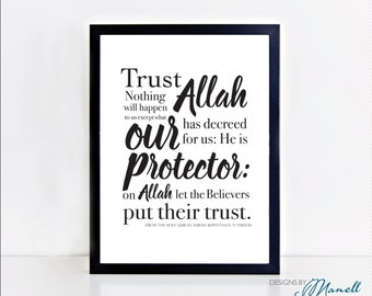 Islamic Print 'He is Allah Our Protector' A4 Printable