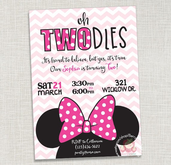 Minnie Mouse Pink Birthday Invitation