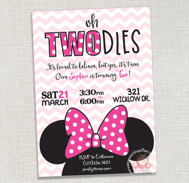 Minnie Mouse Pink Birthday Invitation Two Year Old Twodles