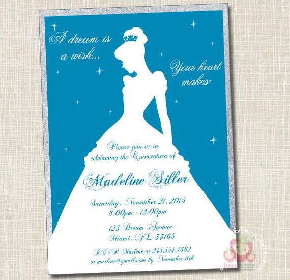 Disney Cinderella Princess Quinceanera Sweet 16 Invitation Etsy