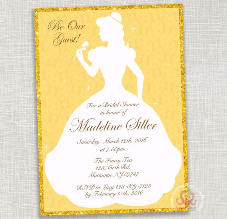1a9561c45417 Disney Belle Princess Bridal Shower Invitation Digital File