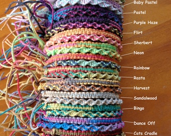 Variegated Hemp Handmade adjustable Friendship Bracelet/Anklet/Wristband - Square or Twist Knot Style