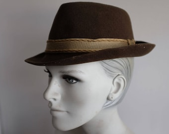 Original 1960s Brown Trilby Hat