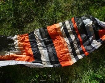 Original 1950s Silk Scarf in Orange, Silver & Black