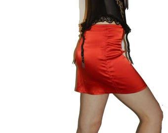 Red Lycra Satin Skirt