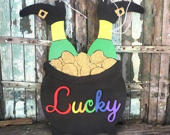 Lucky Leprechaun Door Hanger, St. Patrick's Day Decor, St. Patrick's Day Door Hanger, Unfinished or Finished Wooden Workshop Ki