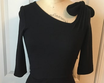 9187df29143a8 Vintage Emporio Armani Black Wiggle Dress Body Con Form Fitting  Asymmetrical Neckline 1990s Made in Italy