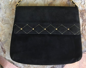 673e3c5daf72 Vintage Neiman Marcus Black Suede Crossbody Shoulder Bag Purse Gold Stud  Accents and Chain Strap